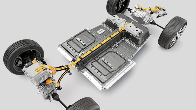 Volvo XC40 Recharge P8 AWD má dvojici elektromotorů aakumulátory umístěné pod podlahou