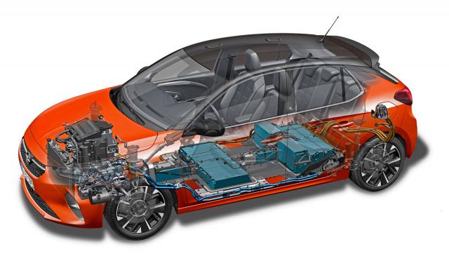 Akumulátory jsou v Corse-e rozdělené na dva hlavní segmenty, které společně umožňují uchovat 50 kWh