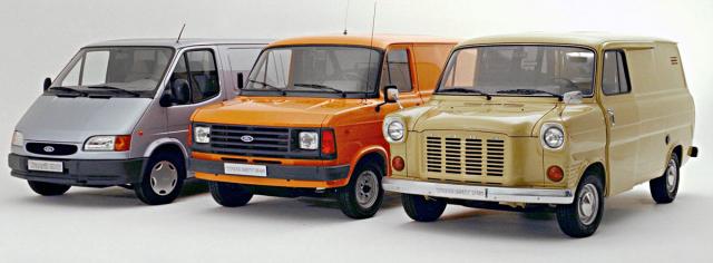 První tři generace Fordu Transit z minulého století – 1965, 1978 a 1995 (zprava)