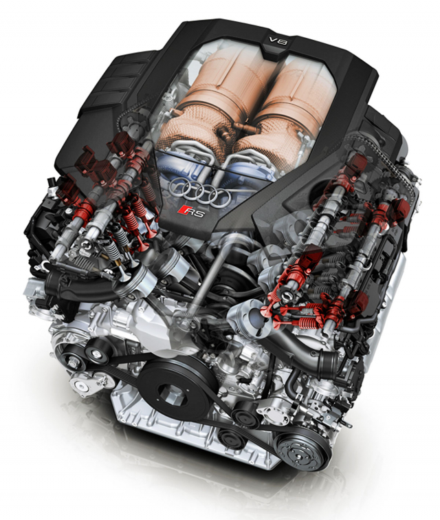 Motor V8 s dvojicí dvoukomorových turbodmychadel umístěnou mezi řadami válců mávypínatelné čtyři válce (červeně zvýrazněné ventily)