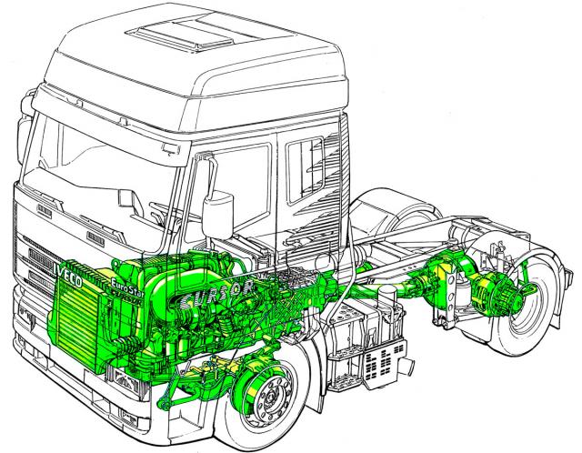 Ústrojí pohonu silničního tahače návěsů