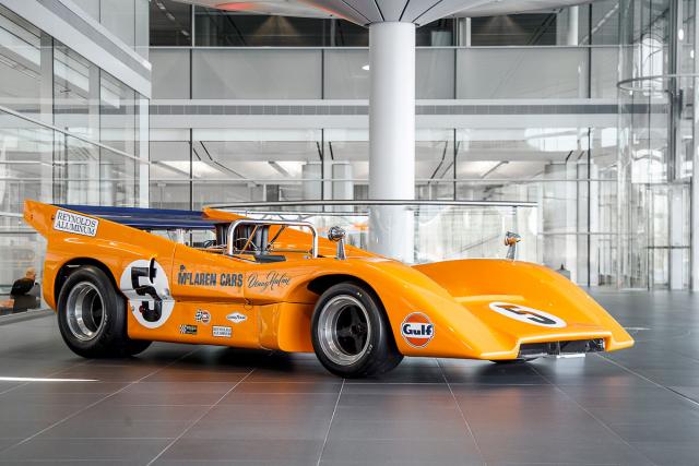 McLaren M8D, závodní vůz CanAm, poslední typ, který Bruce řídil (1970)