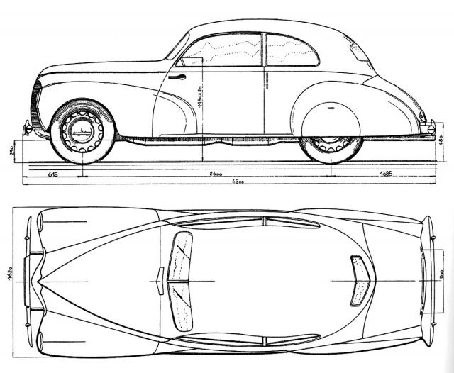 Kresba dvoudveřového prototypu Aero Rekord, zhotovená vzáří 1945