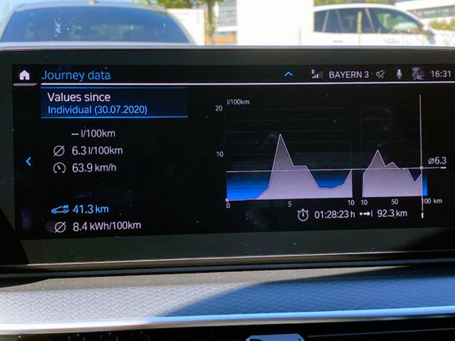 Hodnoty vykázané palubním počítačem po testovací jízdě odélce 92,3km s prototypem BMW 545e xDrive