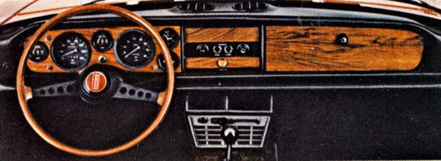Palubní deska modelu Fiat 124 Sport Spider byla bohatě vybavena