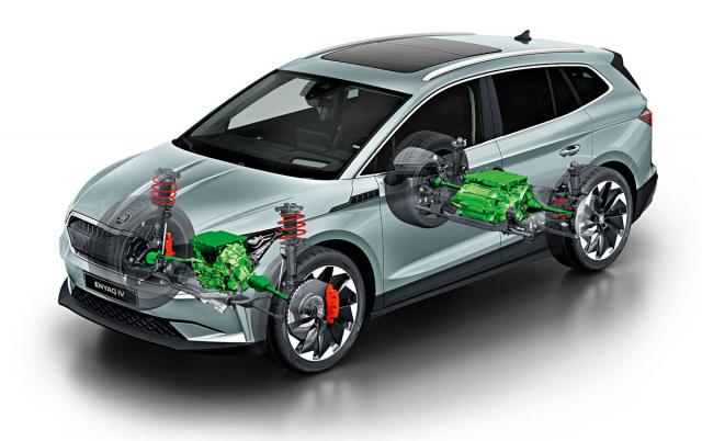 Dražší a výkonnější verze typu Enyaq iV mají elektromotor nejen vzadu, ale také vpředu