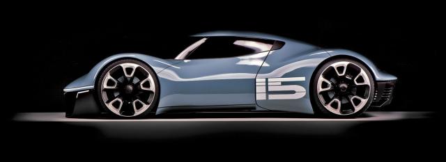 Malý sportovní elektromobil Vision 916 využívá hned čtyři elektromotory a zároveň připomíná nikdy nevyráběný typ 916