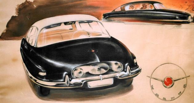 Výtvarník František Kardaus dal budoucímu vozu Tatra jméno Valuta (1954)