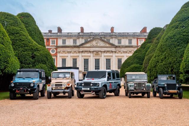 Ineos Grenadier má ambice stát se pokračovatelem odolných pracovně/vojenských off-roadů. Zleva: Mercedes-Benz třídy G, Toyota Land Cruiser, Ineos Grenadier, Land Rover (později Defender) a Jeep Willys