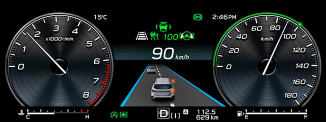 Digitální přístroje nového Subaru Levorg (zatím jen pro Japonsko) nabízejí nové možnosti zobrazení činnosti systému EyeSight