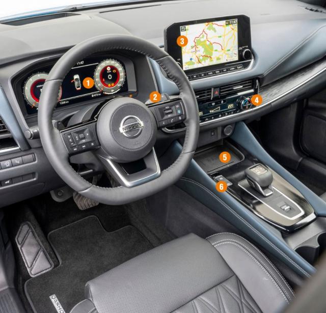 """1 – Plně digitální 12,3"""" displej je sériově od výbavy N-Connecta; 2 – Převodovka X-Tronic s řadicími páčkami; 3 – Navigace: sériově od výbavy N-Connecta; 4 – Automatická dvouzónová klimatizace: sériově od výbavy Acenta; 5 – Bezdrátové nabíjení: sériově od výbavy N-Connecta; 5 – Elektronická parkovací brzda: ve všech verzích standard"""